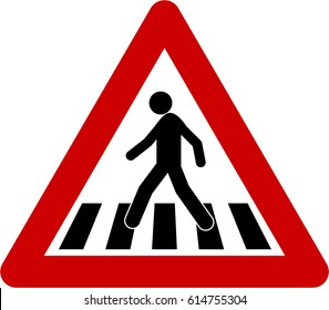 Warning sign with crosswalk symbol