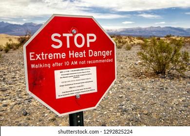 Warning sign at Death Valley National Park, California, USA