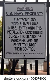 Warning Sign at the Entrance of the United States Naval Academy in Annapolis, Maryland