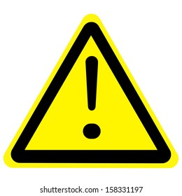 warning sign with exclamation mark isolated on a solid white background