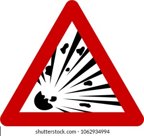 Warning sign with explosive substances symbol