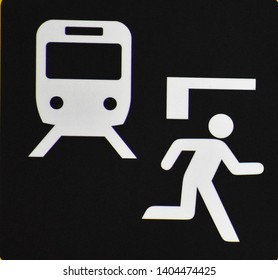 Warning Sign of Fleeing from a Coming Train (Japan)