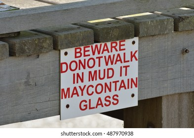Warning sign for glass