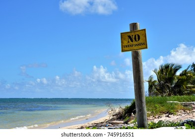 Warning sign on beach in Mexico.
