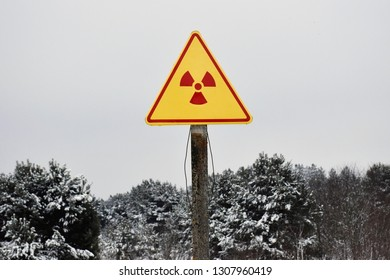 Warning sign of radiation hazard in the area of radioactive fallout
