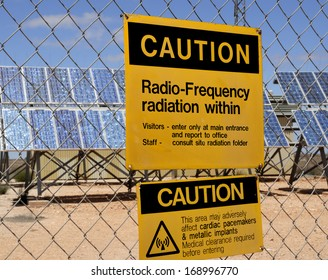 Warning sign for radio frequency radiation at solar plant