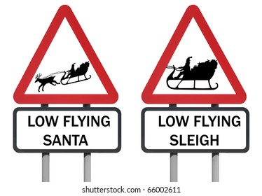Warning sign of santa and his sleigh