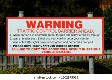 Warning sign for security traffic control device in roadway.