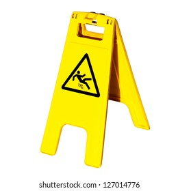 Warning sign for slippery floor  isolated on white background