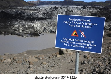 Warning Sign at Solheimajokull Glacier in Iceland