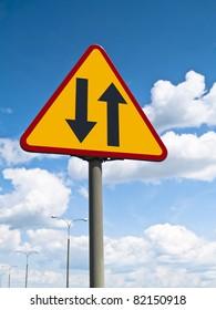 Warning sign - two-way street