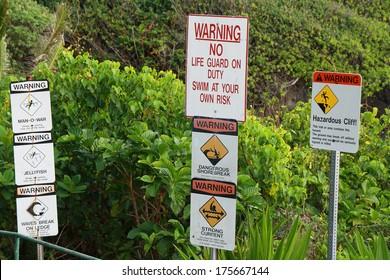 Warning signals in Waianapanapa State park, Maui island, Hawaii, USA