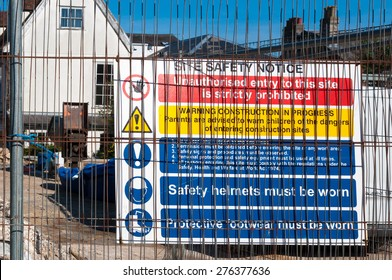 Warning signs at a construction site in  UK
