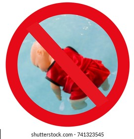 Warning Signs Do not allow children to play water, Caution No Swimming allowed.