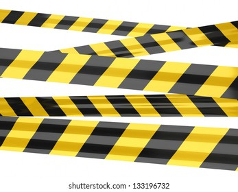warning tape strips (isolated on white and clipping path)