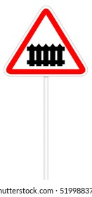 Warning traffic sign isolated on white 3D illustration - Railroad