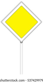 Warning traffic sign isolated on white, illustration - The main road