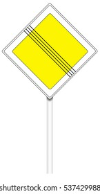 Warning traffic sign isolated on white, illustration - End of main road