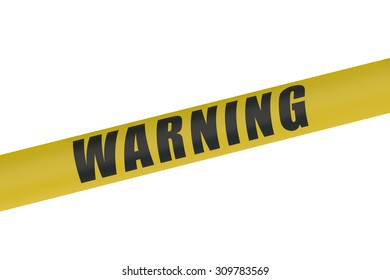 Warning Yellow Tape isolated on white background
