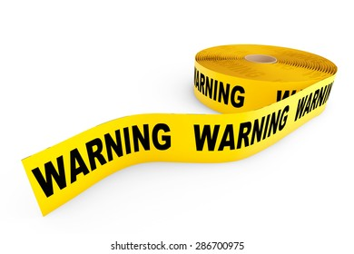 Warning Yellow Tape on a white background