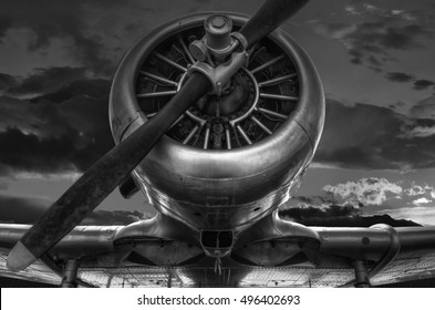 """The warplane from the past """"T-6G HARVARD"""" in black and white photo, cloudy sky background"""