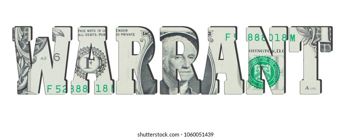 warrant. American dollar banknotes. Background with money