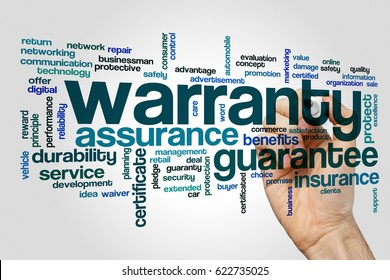Warranty word cloud concept on grey background