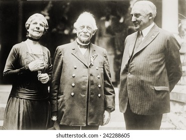 Warren G. Harding (1865-1923), with his wife Florence, and his father, Dr. George Tryon Harding. Ca. 1920.
