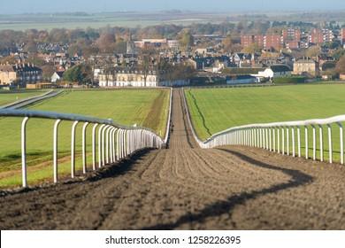 The Warren Hill racehorse training gallops at Newmarket, England.