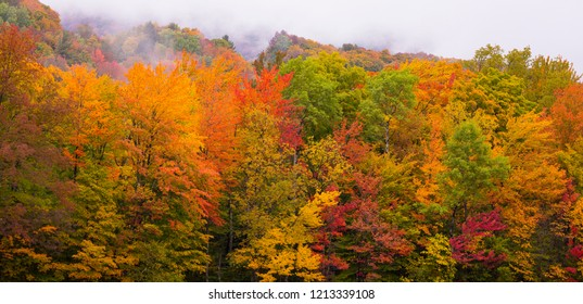 WARREN, VERMONT, USA - OCTOBER 7, 2018: Colorful fall foliage in Green Mountains, Mad River Valley.
