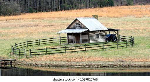 Warrenton , North Carolina / USA - February 20, 2018 : Old Farm & House