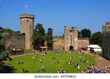 WARRICK CASTLE, WARRICK, UK - JUNE 5,2016: Warwick Castle is a medieval castle developed from an original built by William the Conqueror in 1068.