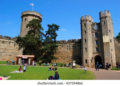 WARRICK CASTLE, WARRICK, UK - JUNE 5,2016: Guy's Tower and Gatehouse. Warwick Castle is a medieval castle developed from an original built by William the Conqueror in 1068.
