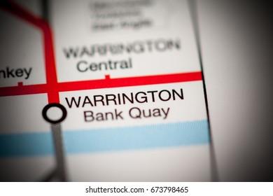 Warrington Bank Quay Station. Liverpool Metro map.