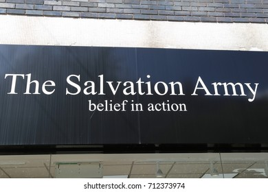 Warrington, Cheshire, England, UK. 7 September 2017. The Salvation Army sign.