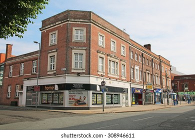 WARRINGTON, UK - AUGUST 23, 2015: Commercial buildings, Warrington, UK. Warrington is a town in Cheshire and stands on the banks of the River Mersey,