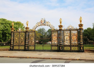 WARRINGTON, UK - AUGUST 23, 2015: Gates to Warrington Town Hall, Cheshire, England. The Town Hall, flanked by two detached service wings at right angles to the house, is a Grade I listed building