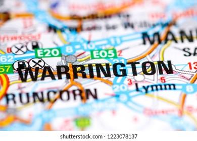 Warrington. United Kingdom on a map
