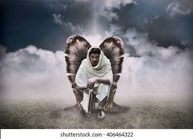 Warrior Angel with Sword in Heavenly Light