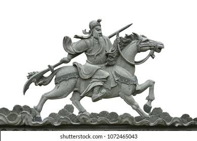 Warrior Guan Gong guanYu Kuan Kung God Ride Horse statue with Clipping path.