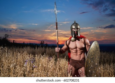 Warrior like spartan going forward in attack.