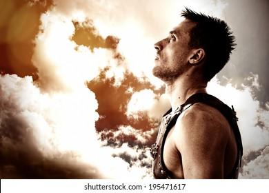 Warrior looking in the sky