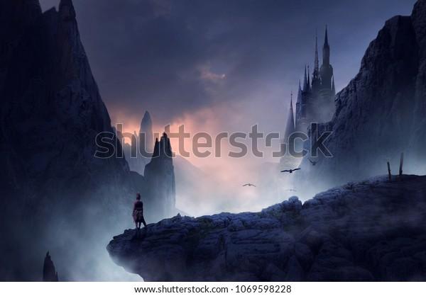 воин или человек, стоящий на сказочном холме