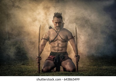 [WARRIOR MAN THAILAND] Ancient warrior man of soldier of Bang Rachan District Thailand hold sword ready fighter.jpg