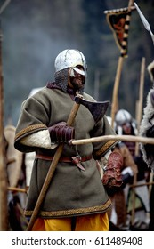 Warrior of medieval Europe. Vikings  Medieval battle (historical reconstruction) Czech Republic, Libusin, 25.04.2015