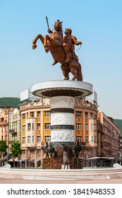 Warrior on a Horse statue and fountain in the centre of Macedonia Square in Skopje city, North Macedonia