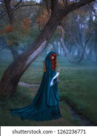 warrior seer flees from captivity, holds bow and arrow in her hands, red-haired curly hair ideally lies on blue velvet cloak, a look that warns the enemy, foreshadows trouble, alone in foggy forest