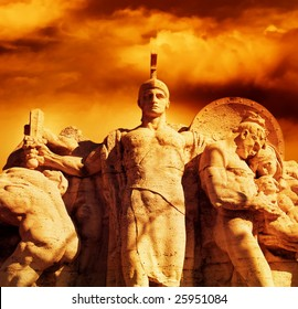 Warrior with a sword statue on the Vittorio Emanuel bridge (Rome, Italy)