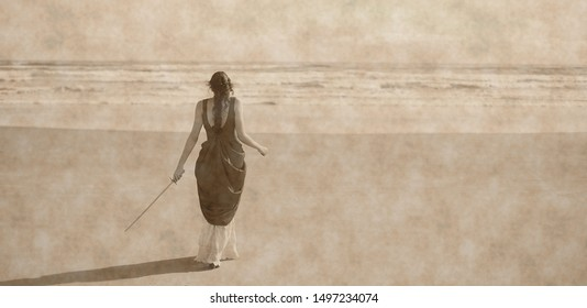 The warrior, tribute to Ansel Adams, young woman with dress on the beach, art photography aged, to give her timeless feeling,