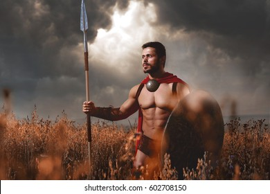 Warrior wearing like spartan going in attack.